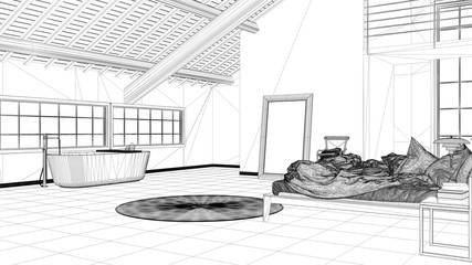Interior design project, black and white ink sketch, architecture blueprint showing loft open space, bedroom and bathroom with bathtub and panoramic windows, minimalistic architecture
