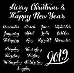 Calligraphic set of months of the year 2019 and days of week. December, January, February, March, September, October.