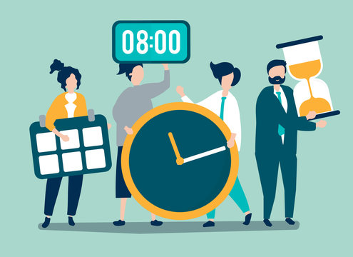 Characters of people holding time management concept illustration