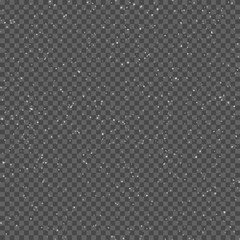 Seamless pattern with realistic falling snowflakes. Isolated on transparent background. Design template. Vector.