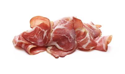 Smoked ham slices isolated on white background