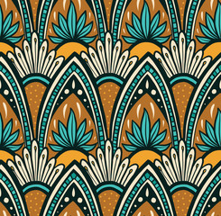 Cascading Mandala - Turquoise and Tan