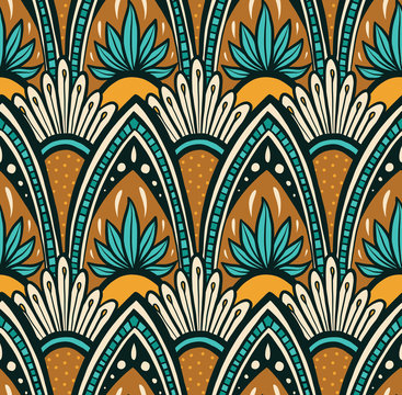 Cascading Mandala - Turquoise and Tan
