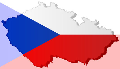 Illustration of a Czech flag with a contour of its borders