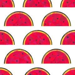 Watermelon watercolor seamless pattern. Hand painted abstract geometric background for surface design, textile, wrapping paper, wallpaper, phone case print, fabric.