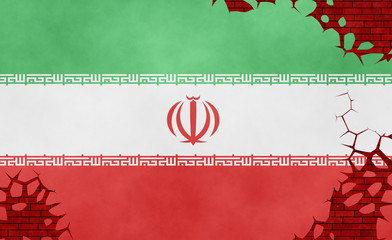 Illustration of an Iranian flag, imitation of a painting on the cracked wall