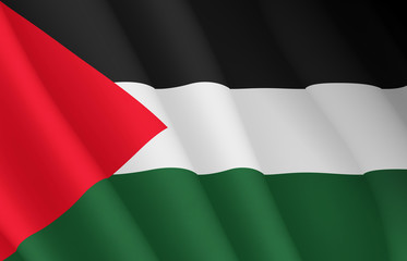 Illustration of a flying Palestinian flag