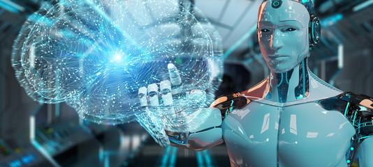 Fototapeta White man humanoid creating artificial intelligence 3D rendering