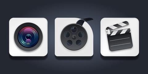 Triple Movie Icon Pack. Camera Bobbin Clapperboard Vector Illustration.