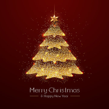 Christmas poster with golden Christmas tree. Christmas greeting card