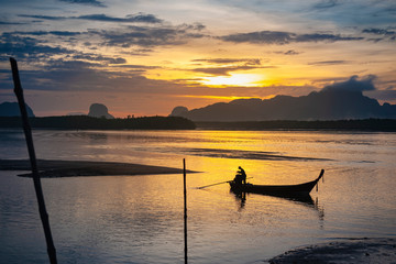 Silhouette seascape beautiful morning light with Thailand lifestyle fisherman