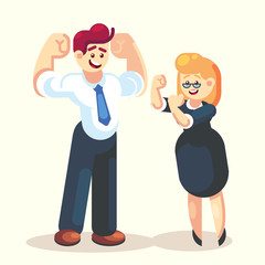 Strong happy businessman and businesswoman office worker team character vector flat design We can do it