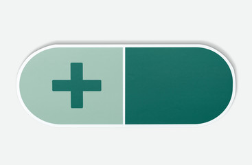 Medical pill with a plus sign illustration