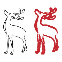 Vector illustration of two styles of reindeer