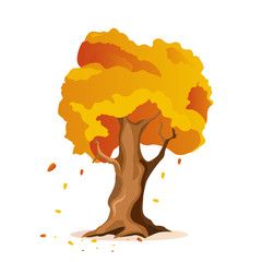 tree with red and yellow leaves vector