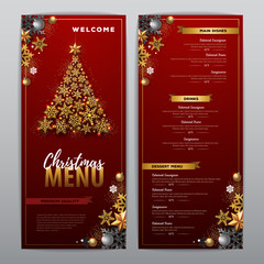 Christmas menu design with golden christmas tree. Restaurant menu.