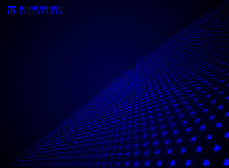 Abstract technology futuristic data visualization particle dynamic blue dots pattern on darkness background and texture with copy space.