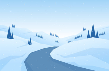 Winter snowy flat cartoon mountains landscape with road, hills and pines. Christmas background.