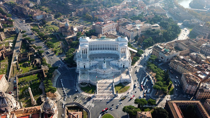 Aerial drone view of iconic neoclassic building of Altar of the Fatherland - Altare della Patria, known as the national Monument to Victor Emmanuel II in city of Rome, Piazza Venezia, Italy