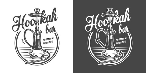Vintage monochrome hookah lounge label