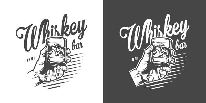 Monochrome whisky bar logotype