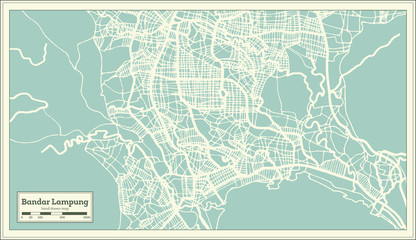 Bandar Lampung Indonesia City Map in Retro Style. Outline Map.