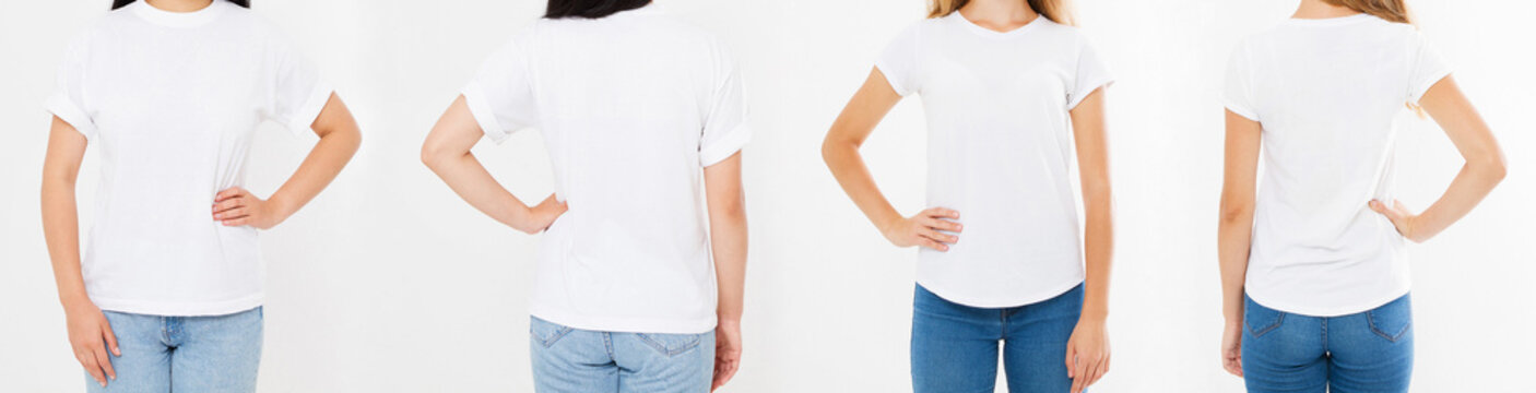 women white tshirt isolated on white background, two girl t shirt