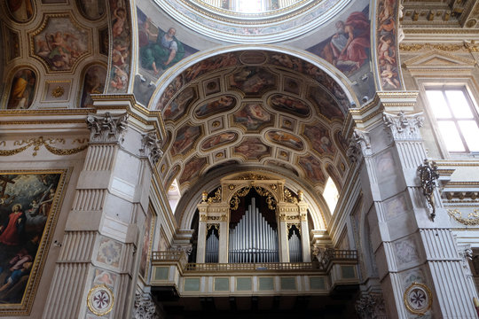 Interior of the Mantua Cathedral dedicated to Saint Peter, Mantua, Italy
