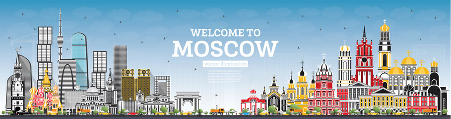 Welcome to Moscow Russia Skyline with Gray Buildings and Blue Sky.