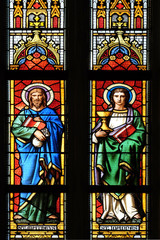 Canvas Prints Stained Saints Matthew and John the Evangelist, stained glass window in parish church of Saint Mark in Zagreb, Croatia