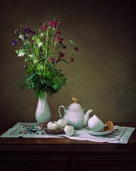 Still life with  aquilegia flowers