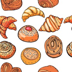 Seamless pattern buns baking croissants. For design packaging.