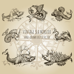Mythological vintage sea monster. Fragment of old pirate map. Hand drawn vector sketch.