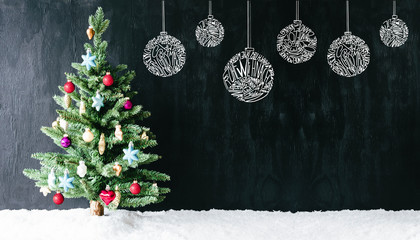 Colourful Decorated Tree, Ball, Copy Space, Snow