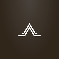 white sign on a black background. vector geometric flat art sign of abstract triangle mountain shape in two lines