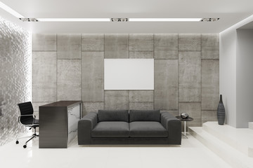 3d illustration of a reception in a gray office