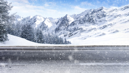 Winter road of free space and snowflakes decoration.