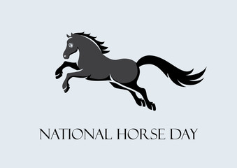 National Horse Day vector. Black horse on a gray background. Jumping horse vector illustration. Horse icon. Important day