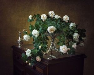 Still life with bouquet of white wild roses