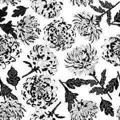 Chrysanthemums background repeated black and white pattern