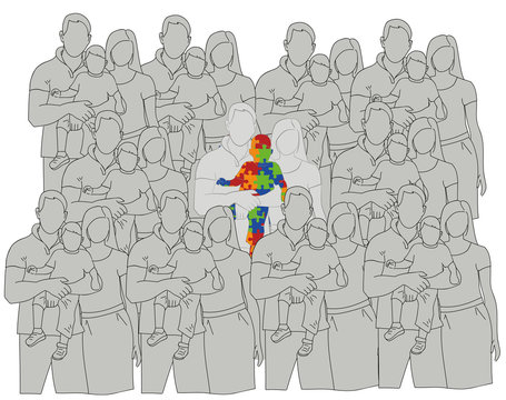 family with an autistic child compared to other families. World Autism Day. vector illustration.
