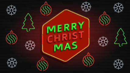 Merry Christmas neon banner. Christmas card design with 3d glowing neon letters and holiday elements. Vector illustration.
