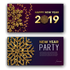 Happy New Year 2019 greeting card and party invitation card with golden snowflake.