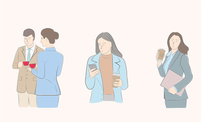 pictures of people drinking coffee. business people. coffee break. vector illustration.