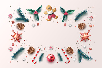 Vector christmas background holly spruce jingle a