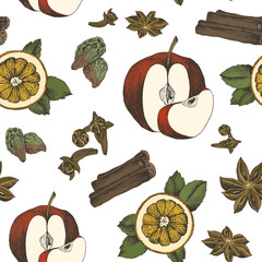 Christmas winter spice. Decorative vector seamless pattern with spices and ingredients for mulled wine. Orange, apple, cranberry, cinnamon, star anise, cardamom and nutmeg on white background.