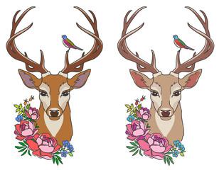 deer with flowers
