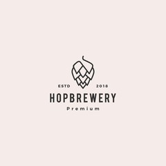 hop brew brewery logo vector hipster retro vintage label illustration