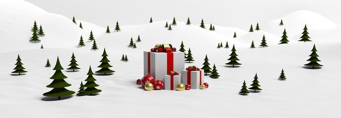 Fond sapins et cadeaux de Noël dans la neige