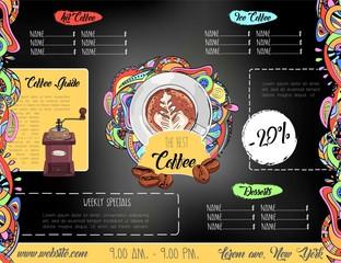 Creative chalk drawing coffee menu design.